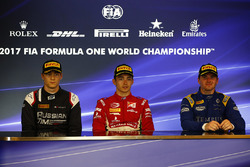 Post-race press conference: race winner Charles Leclerc, PREMA Powerteam, second place Artem Markelov, RUSSIAN TIME, third place Oliver Rowland, DAMS