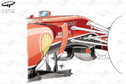 Ferrari F14 T chassis detail (arrow depicts stepped bottom to chassis)