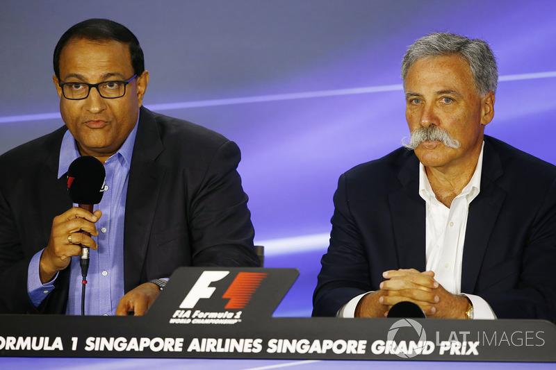 Pressekonferenz: S. Iswaran, Minister für Handel und Industrie, Singapur, Chase Carey, Formel-1-Chef