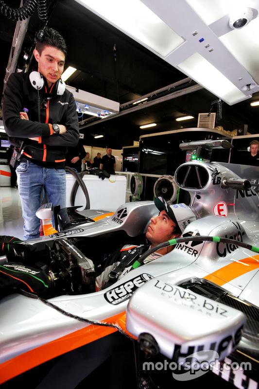 Sergio Perez, Sahara Force India F1 VJM10; Esteban Ocon, Sahara Force India F1 Team