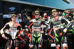 Polesitter Jonathan Rea, Kawasaki Racing, second place Tom Sykes, Kawasaki, third place Marco Melandri, Ducati Team