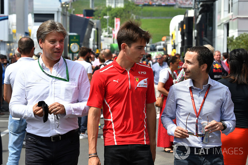 Charles Leclerc, Prema Racing; Nicolas Todt, Manager