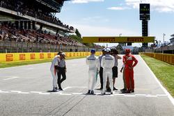 Fernando Alonso, McLaren, Valtteri Bottas, Mercedes AMG F1, Lewis Hamilton, Mercedes AMG F1, Sebastian Vettel, Ferrari, are interviewed after qualifying