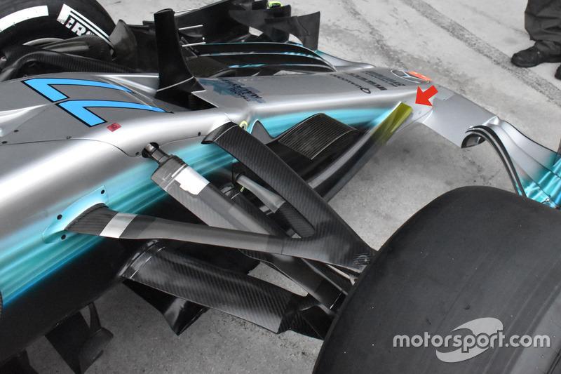 Vue détaillée de la Mercedes AMG F1 W08