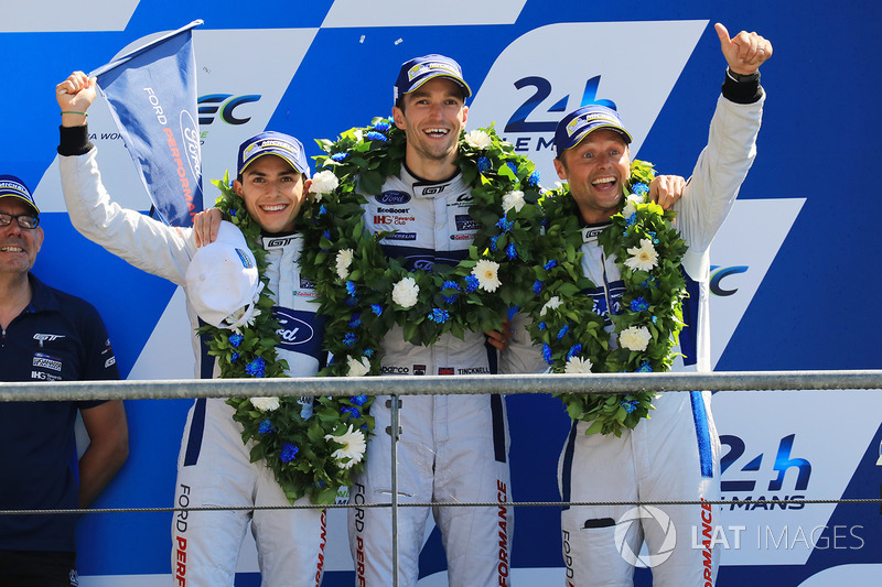 GTE Pro podium: second place Andy Priaulx, Harry Tincknell, Pipo Derani, Ford Chip Ganassi Racing
