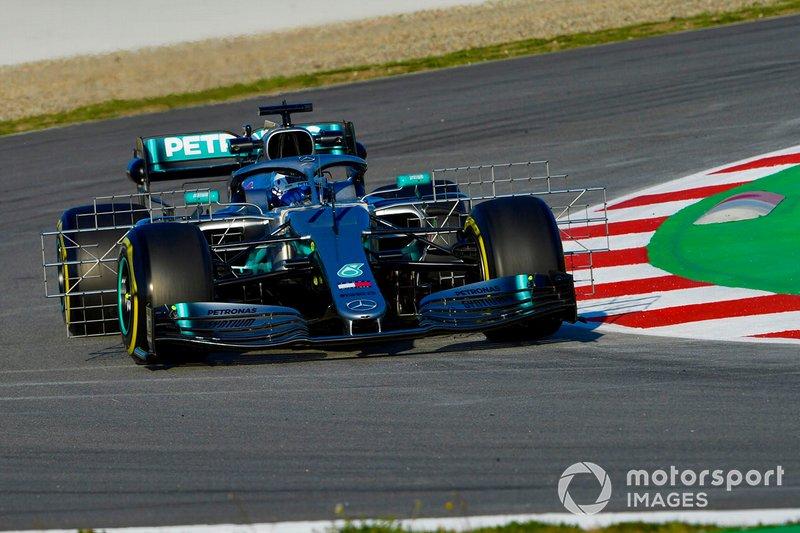 Valtteri Bottas, Mercedes AMG F1 W10, con sensores aerodinámicos