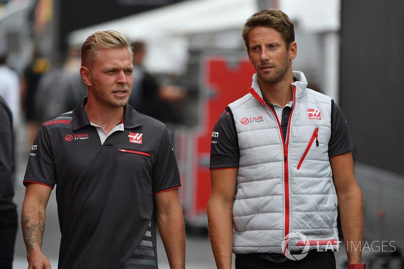 Kevin Magnussen, Haas F1 Team y Romain Grosjean, Haas F1 Team