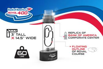 Siegertrophäe für das Bank of America Roval 400 auf der Rundkurs-/Oval-Kombination des Charlotte Motor Speedway