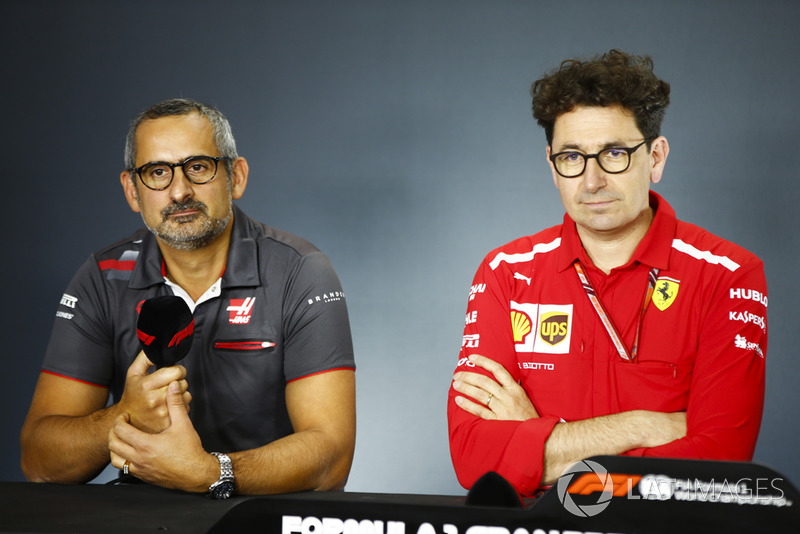 Ben Agathangelou, Head of Aerodynamics, Haas F1, and Mattia Binotto, Chief Technical Officer, Ferrari, in the Press Conference