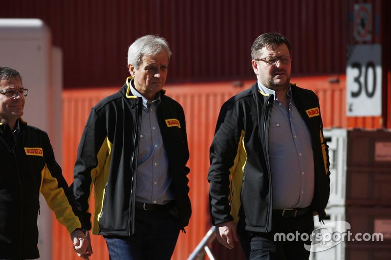 Paul Hembrey, Director, Pirelli Motorsport, and colleagues