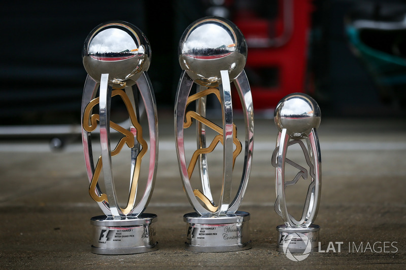The Trophies of race winner Lewis Hamilton, Mercedes AMG F1
