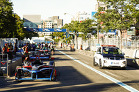 The BMW course car passes the cars as they line up in the pits