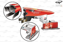 Ferrari F10 nose and front wing differing specifications
