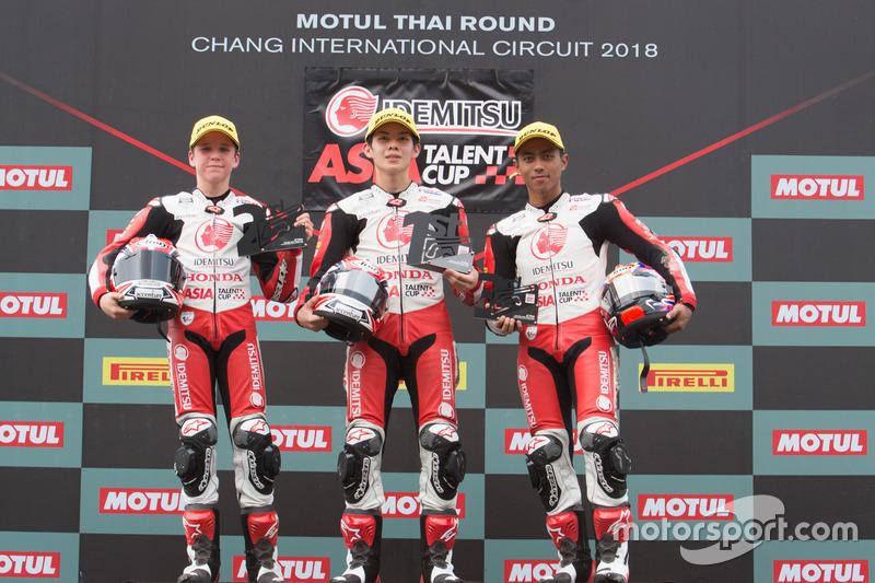 Podium Race 2 ATC Thailand: #19 Bill Van Eerde, #9 Haruki Noguchi, #4 Afridza Munandar
