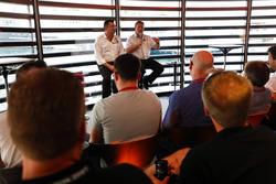 Zak Brown, Executive Director, McLaren Technology Group, and Eric Boullier, Racing Director, McLaren, talk to the media