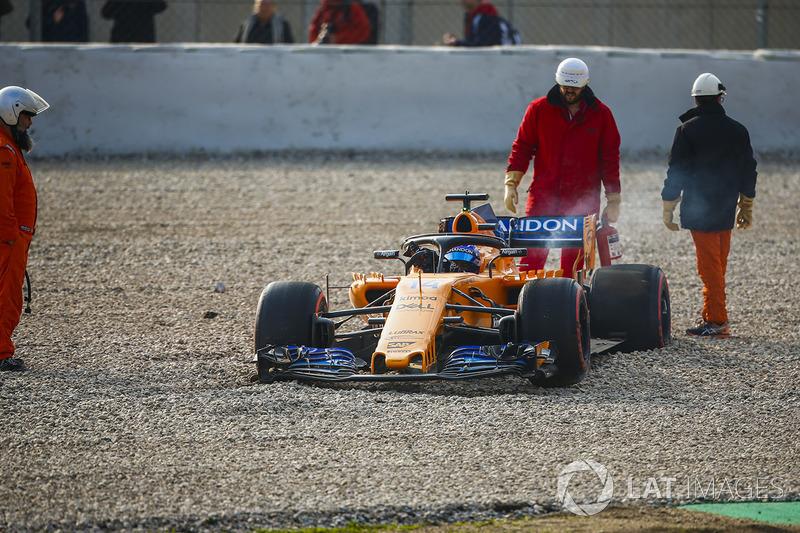 После аварии: Фернандо Алонсо, McLaren MCL33