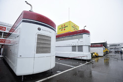 Alfa Romeo Sauber F1 Team trucks as snow stops testing on day three