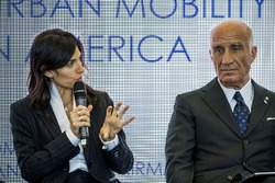 Virginia Elena Raggi, Mayor of Rome, Angelo Sticchi Damiani, President of ACI, in the FIA Smart Cities conference