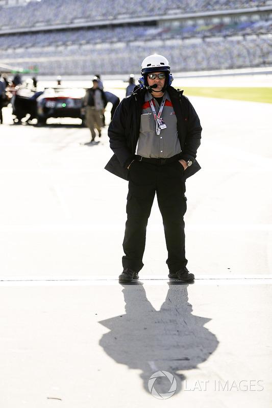 IMSA pit lane official Jim Fowler