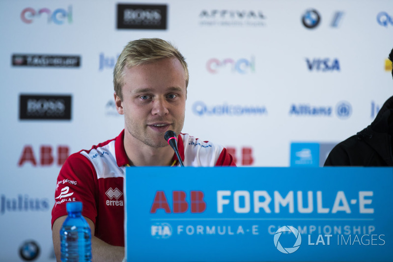 Felix Rosenqvist, Mahindra Racing, in the press conference