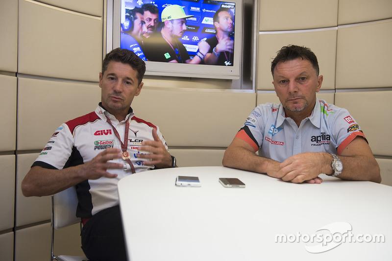 لوسيو سيتشينيلو، فريق إل سي أر هوندا وفاوستو غريسيني، مُدير فريق أبريليا