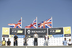 Podium: winner Harrison Scott, AVF by Adrian Valles, second place Lando Norris, Josef Kaufmann Racin