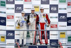 Rookie Podium: first place Joel Eriksson, Motopark Dallara F312 - Volkswagen; second place David Beckmann, kfzteile24 Mücke Motorsport Dallara F312 - Mercedes-Benz; third place Ralf Aron, Prema Powerteam Dallara F312 - Mercedes-Benz.