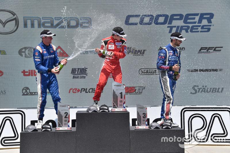 Podyum: 2. Dean Stoneman, Andretti Autosport, 1. Zach Veach, Belardi Auto Racing, 3. Felix Serralles, Carlin