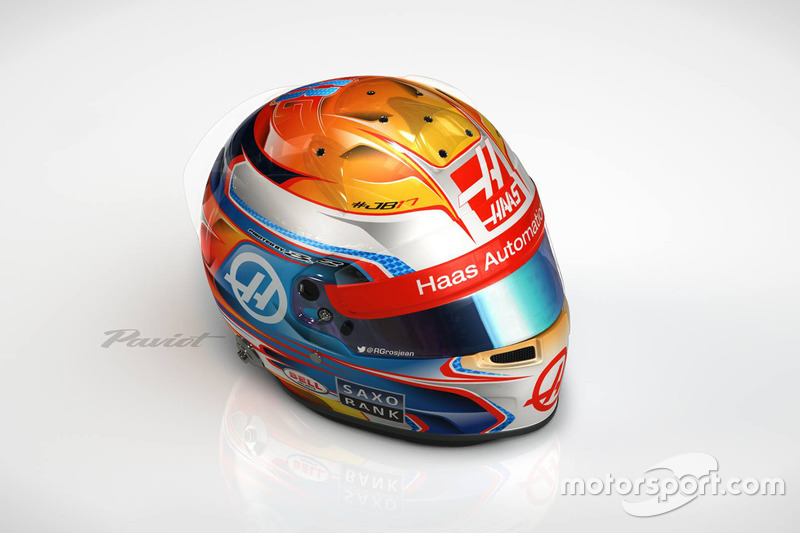 El casco de Romain Grosjean, Haas F1 Team