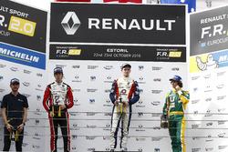 Podium: race winner Will Palmer, R-ace GP; second place Hugo De Sadeleer, Tech 1 Racing; third place Alexander James Peroni, A.S.D. TS Corse