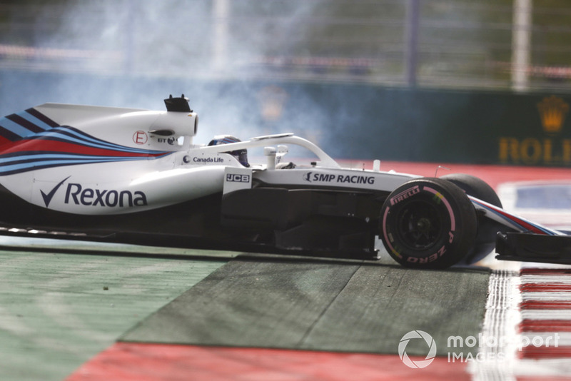Lance Stroll, Williams FW41, spins