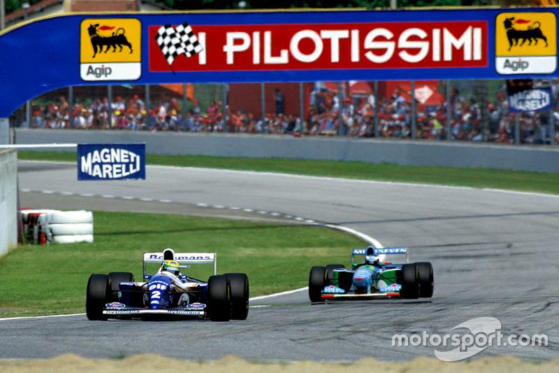 Ayrton Senna, Williams FW16, ve Michael Schumacher, Benetton B194