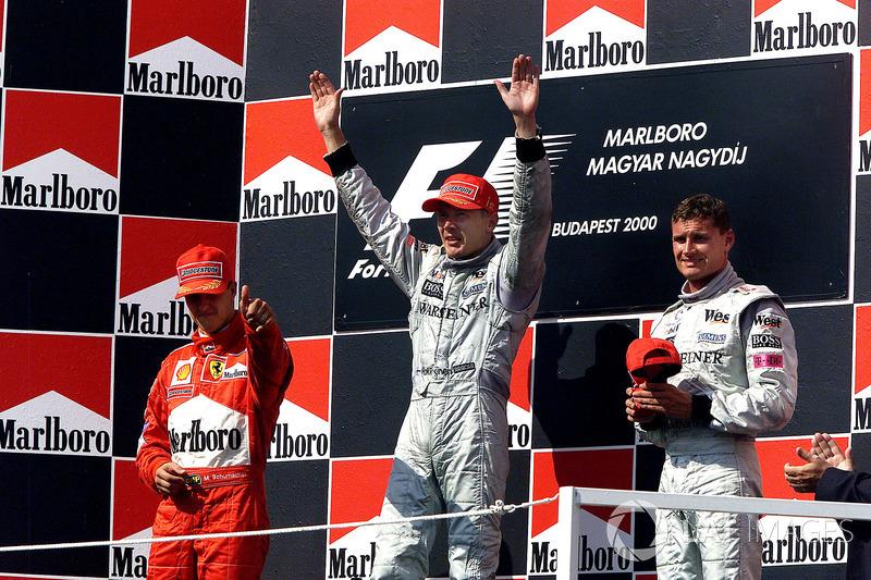 2000: 1. Mika Häkkinen, 2. Michael Schumacher, 3. David Coulthard