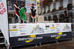 Sébastien Carron, Vincent Landais, Paolo Pianca sur le podium, Rally Ronde del Ticino