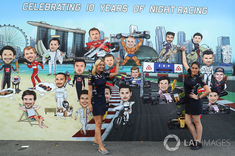 Mural and Red Bull Racing girls