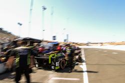 Charlie Kimball, Chip Ganassi Racing Honda leaving pits