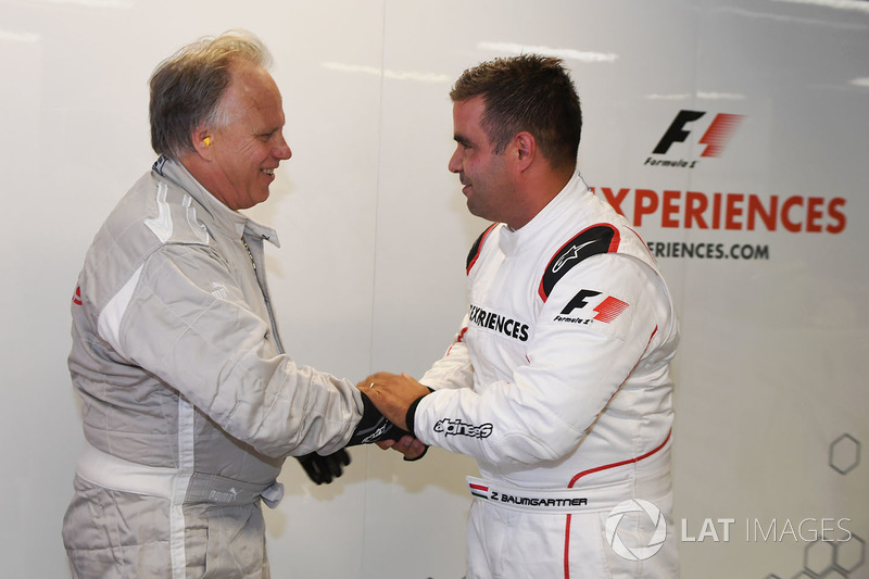 F1 Experiences 2-Seater passenger Gene Haas F1 Team, Founder and Chairman, Haas F1 Team Team and Zsolt Baumgartner, F1 Experiences 2-Seater driver