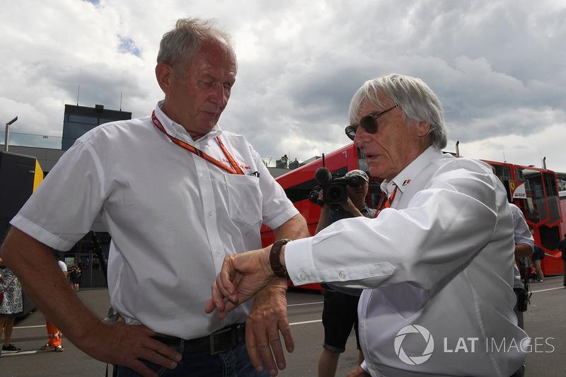 Dr Helmut Marko, Red-Bull-Motorsportberater; Bernie Ecclestone