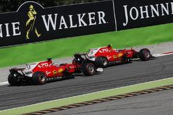 Sebastian Vettel, Ferrari SF70H and Kimi Raikkonen, Ferrari SF70H battle