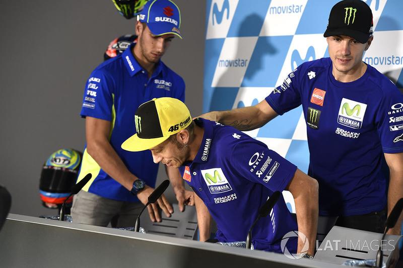 Valentino Rossi en la rueda de prensa de este jueves en Motorland, con Viñales y Rins