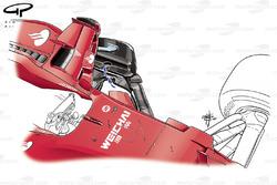Ferrari SF70H ranuras de bargeboard, GP de Singapur