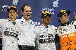 Podio: Nico Rosberg, Mercedes AMG F1, Aldo Costa, Mercedes AMG F1, ganador de la carrera Lewis Hamilton, Mercedes AMG F1, tercer lugar y Sergio Pérez, Force India