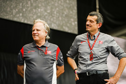 Gene Haas, Team Owner, Haas F1 Team, Guenther Steiner, Team Principal, Haas F1 Team, on stage