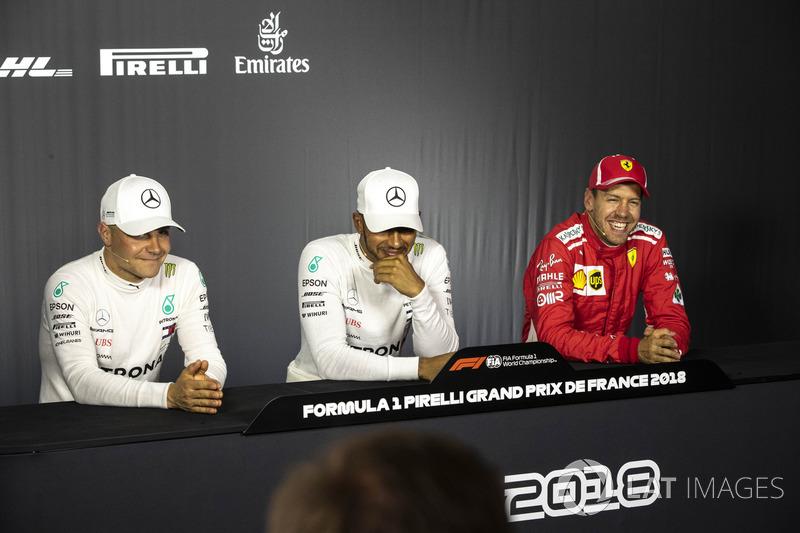 Valtteri Bottas, Mercedes-AMG F1, Lewis Hamilton, Mercedes-AMG F1 and Sebastian Vettel, Ferrari in the Press Conference