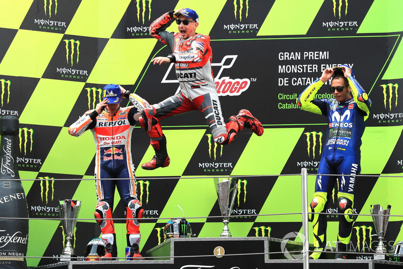 Podio: 1º Jorge Lorenzo, 2º Marc Marquez, 3º Valentino Rossi