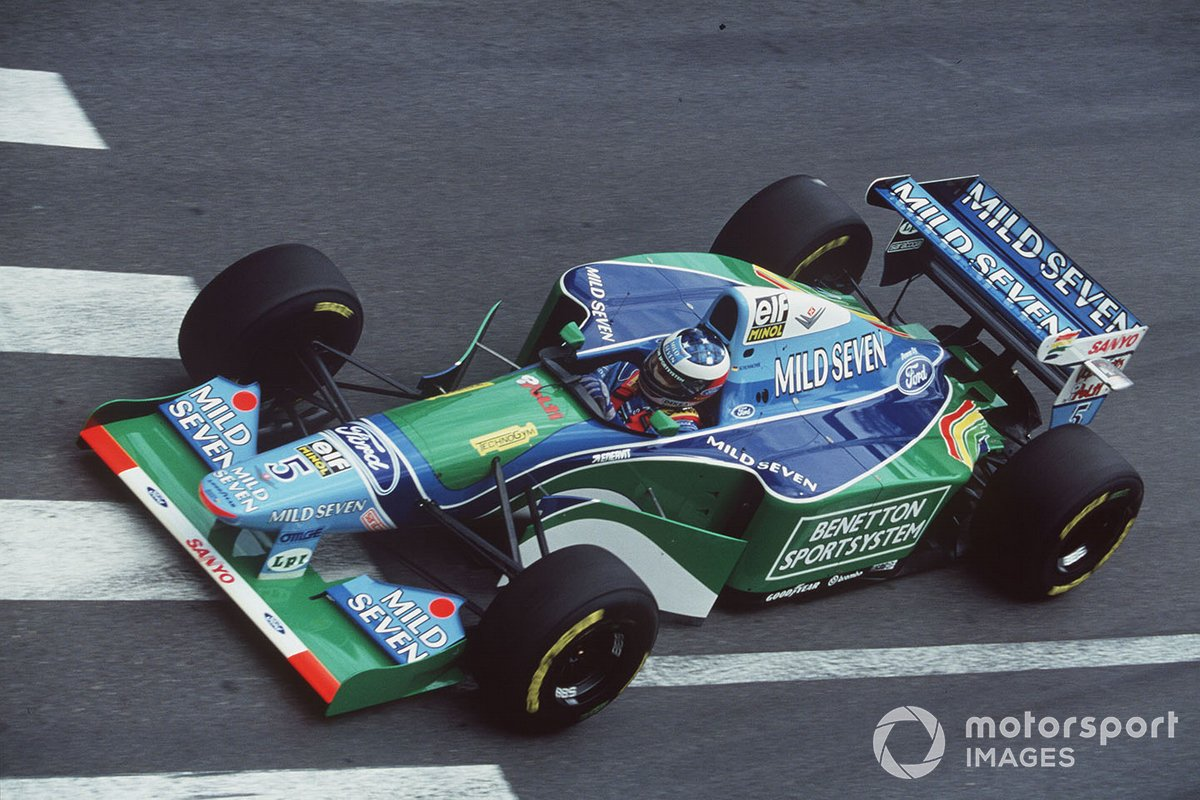 Michael Schumacher in his Benetton B194 Ford on his way to his first pole position for the 1994 Monaco GP.