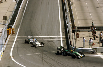 Michele Alboreto, Tyrrell 011 Ford, 1st position with Keke Rosberg, Williams FW08C Ford, 2nd position behind