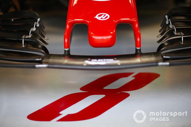 The nose of the car of Romain Grosjean, Haas F1 Team VF-18