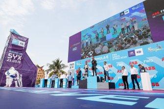 Jean-Eric Vergne, DS TECHEETAH, 1st position, Oliver Rowland, Nissan e.Dams, 2nd position, Antonio Felix da Costa, BMW I Andretti Motorsports, 3rd position, on the podium