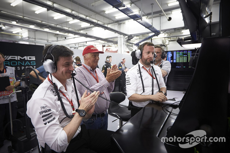 Toto Wolff, Executive Director, Mercedes AMG, and Niki Lauda, Non-Executive Chairman, Mercedes AMG,
